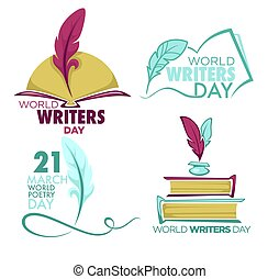 Writers and poetry day isolated icon feather and book vector