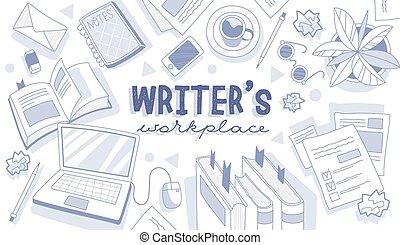 writer's, concept, lieu travail, texte, centre
