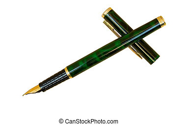 Writer\\\'s Cross - Classic Gold Ink Pen; Isolated, Clipping...
