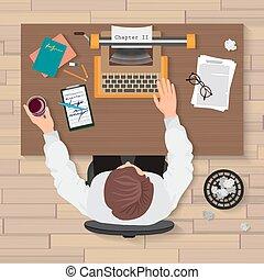 writer's, fonctionnement, bureau., concept., écrivain, ou, workplace., homme, maison, machine écrire, vue dessus