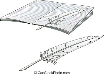 Writers plume pen with open book