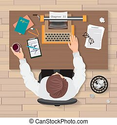 Writer's workplace. Top view of man writer working on typewriter in the home or office. Writer typewriter top concept.