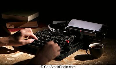 Writes typing a typewriter at night creates a new novel