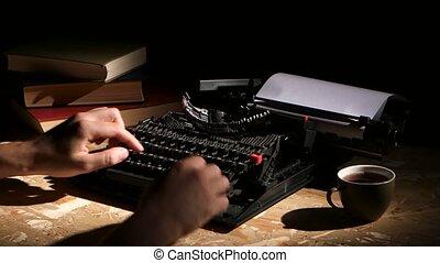 Writes typing a typewriter at night creates a new novel -...