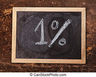 Writing 1% on a blackboard with white chalk on wooden background