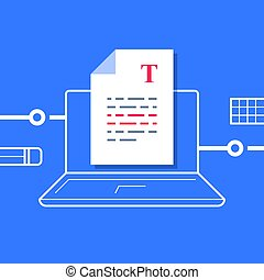 Writing a document, text editing, sheet on computer, article text improvement, storytelling or copywriting concept, summary compilation, content author, vector flat illustration