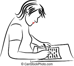 Writing a Letter - woman writing