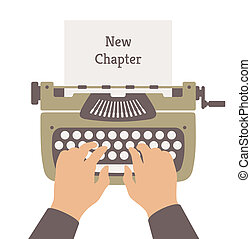 Flat design style modern vector illustration concept of author writing a new chapter in a novel story on a manual vintage stylish typewriter. Isolated on white background