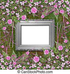 Writing abstract background with paper and floral beautiful frame