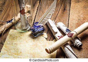 Writing ancient feather letter and send it in a bottle