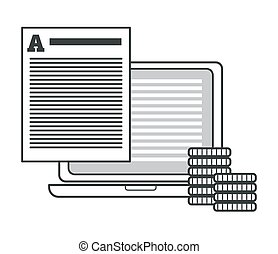 Creative writing and storytelling, copywriting concept, printed text document and laptop isolated icon vector. Computer and earning money, coins stacks. Proofreading, paper sheet, article or story