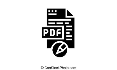 writing and editing pdf file animated glyph icon. writing and editing pdf file sign. isolated on white background
