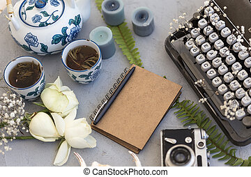 Writing and freelance concept. Styled workdesk with vintage type