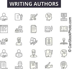 Writing authors line icons for web and mobile design. Editable stroke signs. Writing authors outline concept illustrations