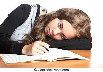 writing-book, regarde, girl-teenager