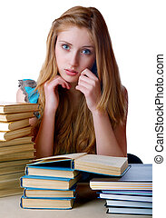 writing-books, livres, tas, fond, blanc, girl