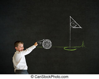 Writing boy business man with chalk golf ball flag green