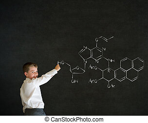 Writing boy business man with science chemistry formula