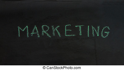 Writing business concept idea on black board background.