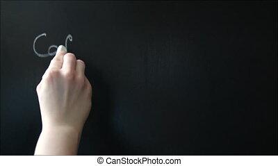 Writing Coffee-Shop Menu on the Chalkboard