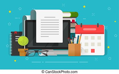 Writing content or essay on computer or reading article vector illustration, flat cartoon working desk and books, letter document or journal on screen, idea of author or writer table or workplace