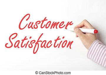 Writing customer satisfaction word on whiteboard