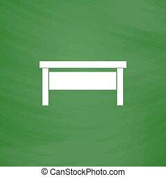 writing desk flat icon - Writing desk. Flat Icon. Imitation...