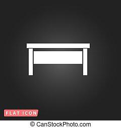 writing desk flat icon - Writing desk. White flat simple...