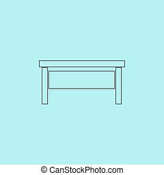 writing desk - Writing desk. Simple outline flat vector icon...