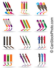 Writing drawing and painting tools icons set - vector...