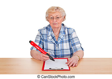 Writing - Elderly woman writing with a large pen