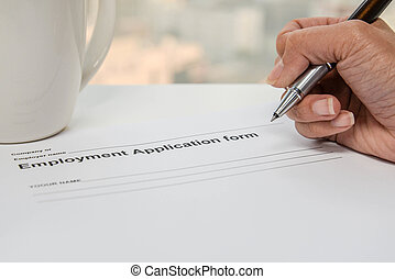 Writing Employment application form