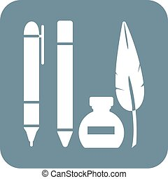 Pen, equipment, school icon vector image. Can also be used for schooling. Suitable for use on web apps, mobile apps and print media.