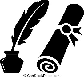 Writing feather and old rolled certificate
