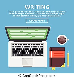 Writing flat illustration concept. Workspace with writer's ...