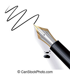 Fountain pen writing paper with black ink