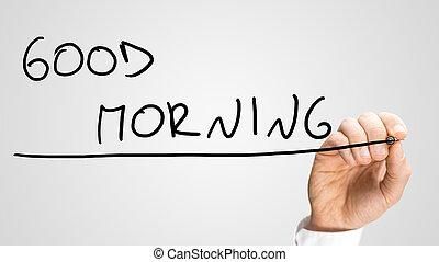 Writing Good morning on a virtual screen