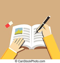 Writing hand concept. Writing or studying concept illustration. Flat design.