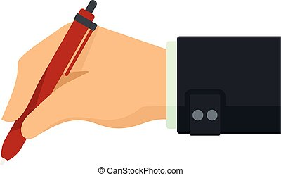 Writing hand red pen icon, flat style