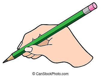 Writing hand with pencil - isolated illustration.