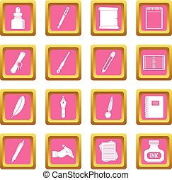 Writing icons pink