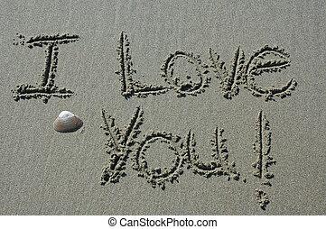 writing-iloveyo, areia