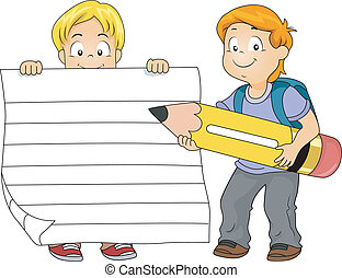 Writing Kids - Illustration of a Boy Holding a Piece of...