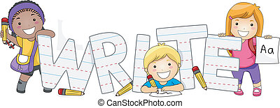 Writing Kids - Illustration of Kids Learning How to Write