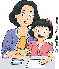 Writing Lesson - Illustration of a Mother Teaching Her...