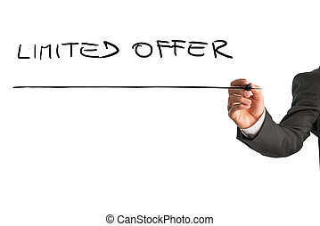 Male hand writing Limited offer on virtual whiteboard. Isolated over white background.