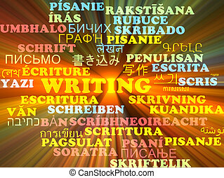 Writing multilanguage wordcloud background concept glowing