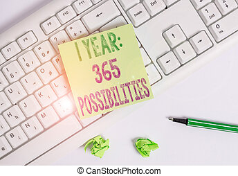 Writing note showing 1 Year 365 Possibilities. Business ...