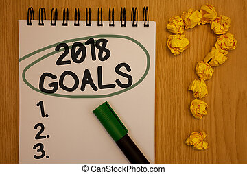 Writing note showing 2018 Goals 1. 2. 3.. Business photo showcasing Resolution Organize Beginnings Future Plans Notepad rotund black words green pen woody desk balls form query mark.