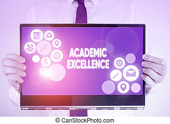 Writing note showing Academic Excellence. Business photo ...